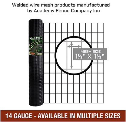 "1 1/2""x1 1/2"" 14 gauge vinyl coated welded wire roll - Mulitple sizes available"