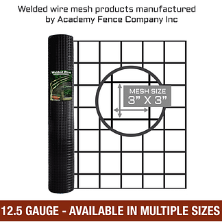 "3""x3"" 12.5 gauge black vinyl coated welded wire roll - Mulitiple sizes available"