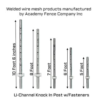 Knock-In Posts U-Channel with fastening clips