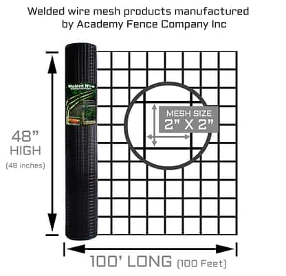 "2""x2"" 10.5 Gauge black vinyl coated welded wire roll - 4ft high x 100ft long"