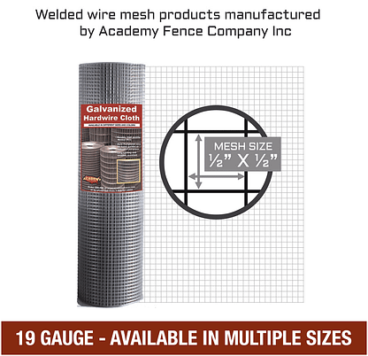 "1/2"" X 1/2"" 19 Gauge Hardware Cloth Mesh"