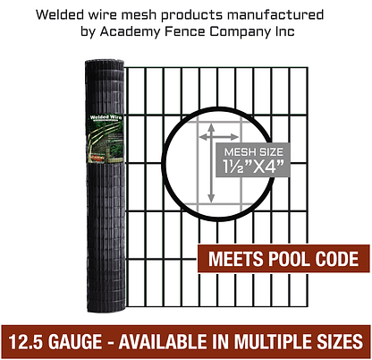 "Pool Code Fence - Welded Wire - 1 1/2""x4"" 12.5 gauge vinyl coated welded wire roll - Multiple sizes available"