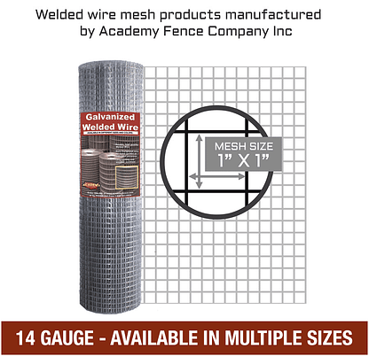 mesh size 1 inch by 1 inch - 14 Gauge - Galvanized welded wire