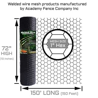 """Hex netting or chicken wire roll. Dimensions:72x150 - Wire gauge: 1"""" Hexagon - color: black"""