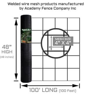 "4""x4"" 11 Gauge black vinyl coated welded wire roll - 4ft high x 100ft long"