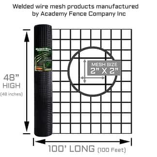 "2""x2"" 10.5 Gauge black vinyl coated welded wire roll - 4ft high x 100ft long"