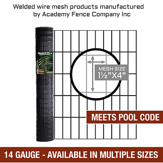"Pool Code - 1 1/2""x4"" 14 gauge vinyl coated welded wire roll - Multiple sizes available"