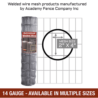 mesh size 2 inches by 4 inches - 14 Gauge - Galvanized welded wire