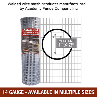 Mesh size 1 inch by 2 inches - 14 Gauge - Galvanized welded wire